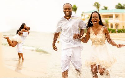 Behind the scenes Saint Croix destination wedding engagement photo session.
