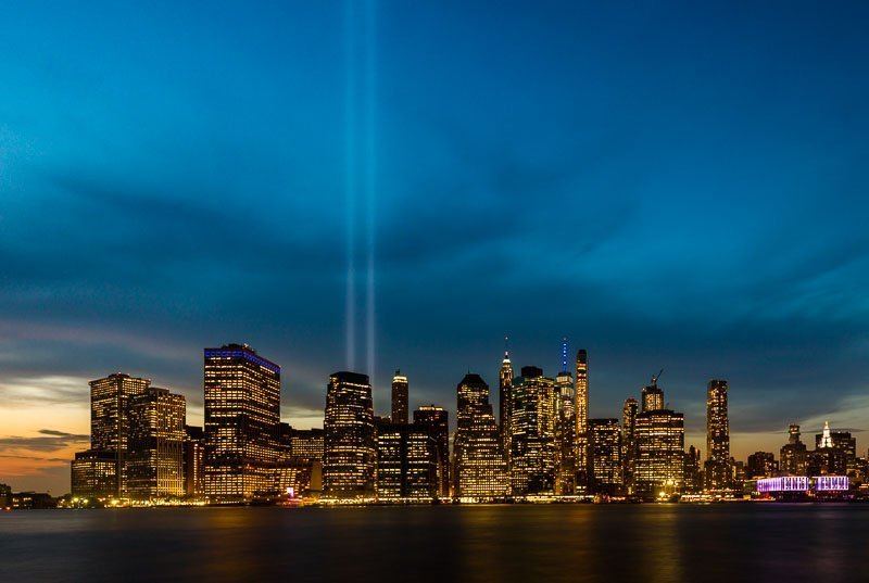 September 11 tribute in light blue hour amazing wall art photo