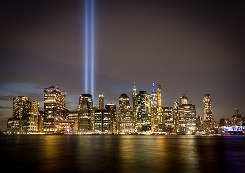 Stunning September 11 tribute in light wall decor art photo