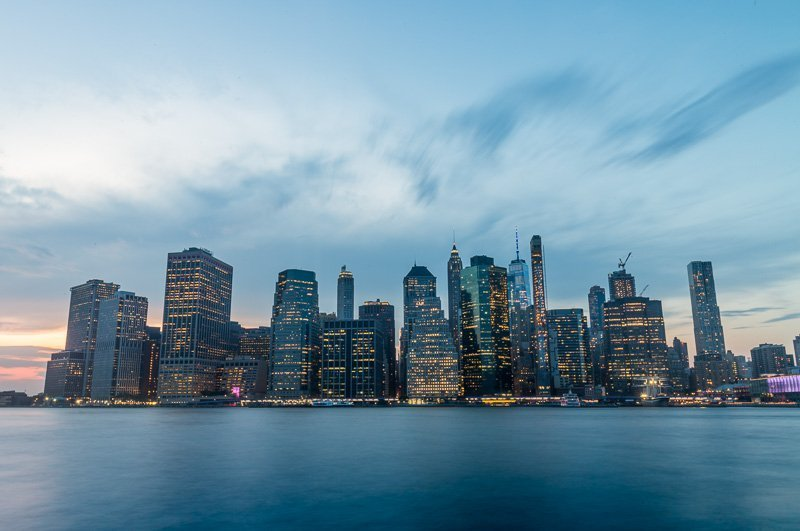 blue hour downtown manhattan long exposure