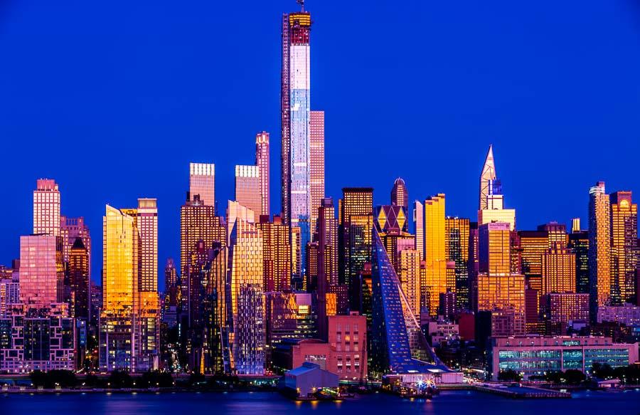 Stunning blue hour Manhattan blue hour cityscape picture art wall