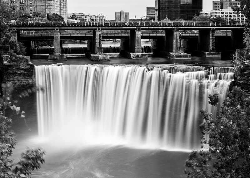 High Falls Terrace Park Waterfall Professional Photo black and white long exposure