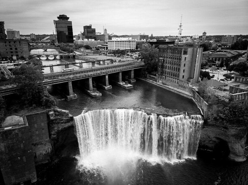 High Falls Terrace Park Waterfall Professional Drone Photo black and white