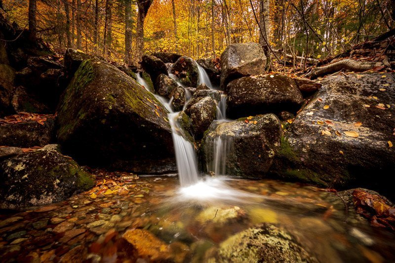 Champney Brook Waterfall White Mountains New Hampshire Long Exposure Autumn Fall Season