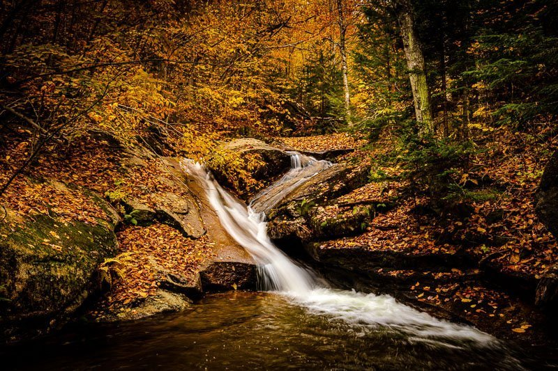 Champney Falls White Mountains long exposure autumn fall season