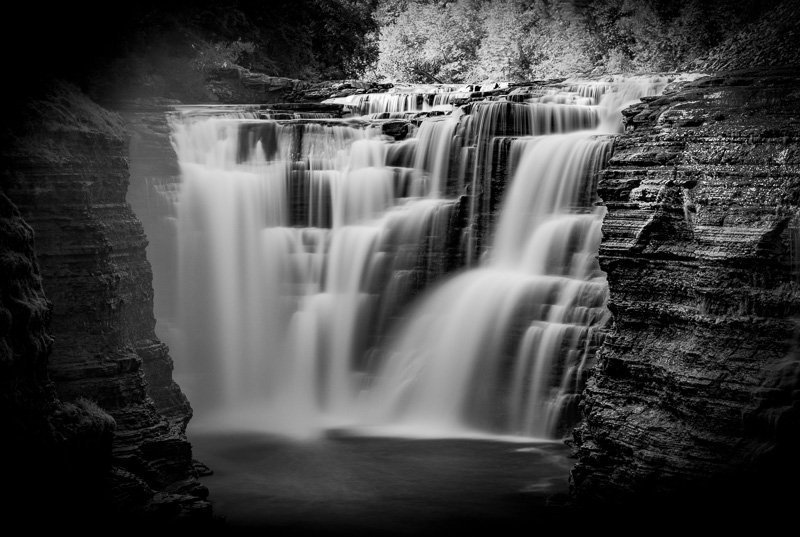 Letchworth State Park long exposure black and white image