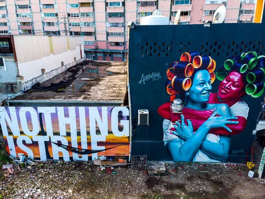 Angurria's art puerto rico wall drone