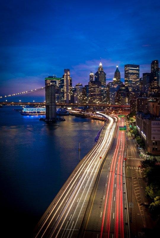 blue hour fdr drive on manhattan bridge long exposure night photo