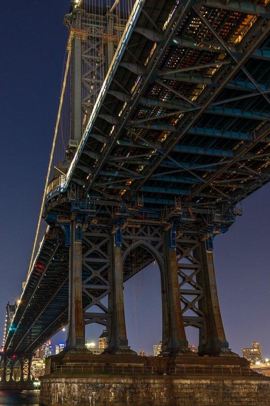 manhattan bridge - under tower nyc - night photo